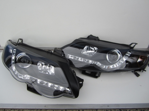 Ford Falcon FG XR6 XR8 GT Turbo LED Headlight DRL Black Projector Brand New Pair
